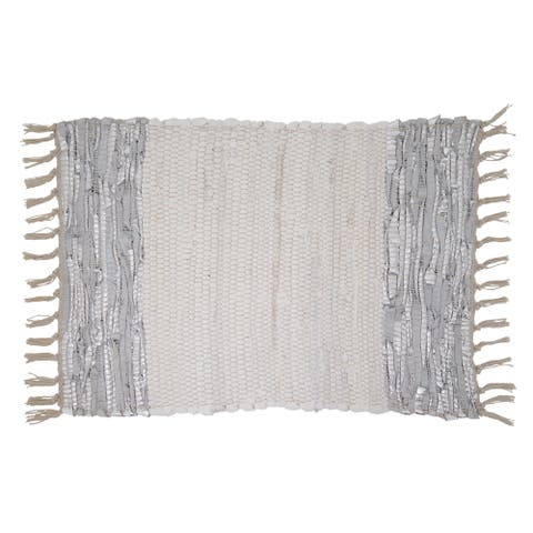 Leather Chindi Placemats With Striped Design (Set of 4)