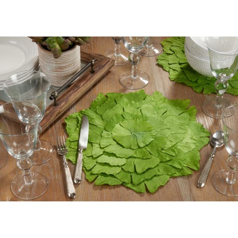 Cloth Table Mats with Ginkgo Leaf Design (Set of 4)