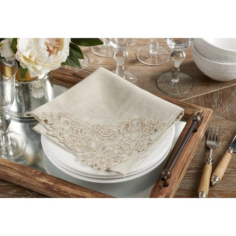 Table Napkin & Placemat Set With Lace and Embroidered Design - ( 1 placemat and 1 napkin)
