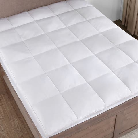 Home Elements White Goose Feather Mattress Topper with Cotton Cover