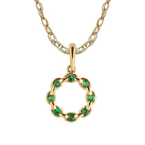 Viducci 10k Yellow Gold Genuine Round Emerald Circle Pendant Necklace