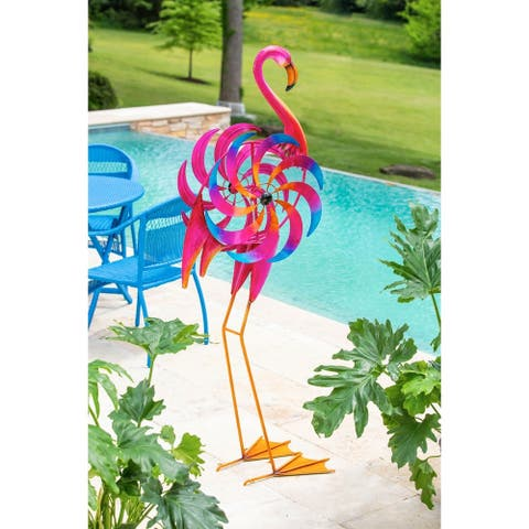 66-inch Statement Flamingo Kinetic Wind Spinner