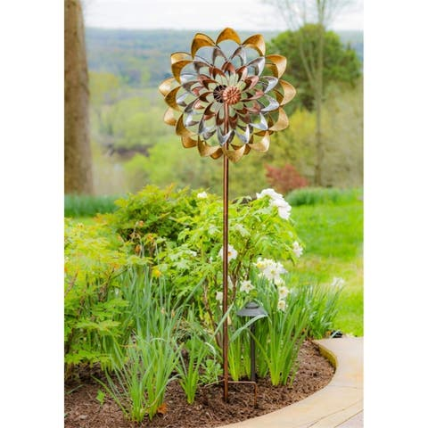 75-inch Copper and Gold Flower Kinetic Wind Spinner