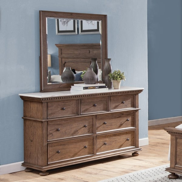 Sasha Cognac Marble Top 7-Drawer Dresser and Mirror by Greyson Living