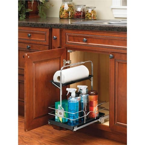 Rev-A-Shelf Undersink Pullout Removable Cleaning Caddy, Chrome & Black
