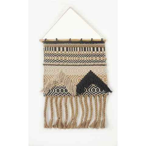 "Beige and Charcoal Geometric Fringed Wall Hanging - 18"" x 26"""