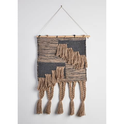 "Diamond Tufted and Fringed Wall Hanging - 18"" x 26"""