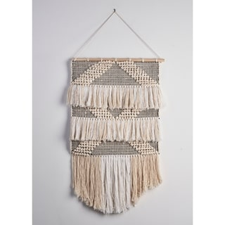 "Gray and Teal Fringed Wall Hanging - 18"" x 26"""