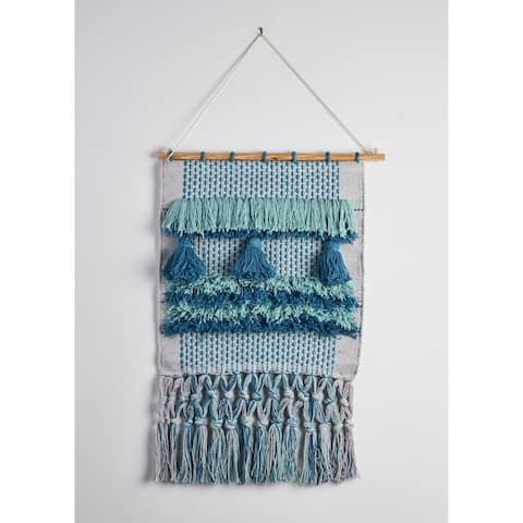"Neutral Multicolored Geometric Fringe Wall Hanging - 18"" x 26"""