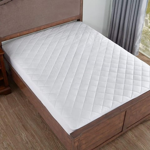 Home Elements White Down Alternative Quilted Fitted Mattress Pad with Cotton Cover