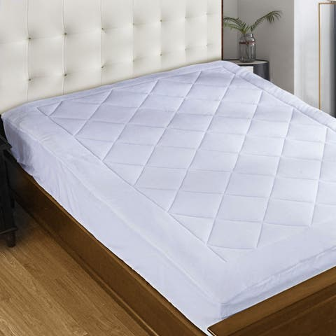 "Coral Fleece Topped Down Alternative Fill Mattress Pad fits up to 18"" Mattress - Vegan - White"