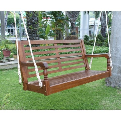 Teba Natural Acacia Porch Swing by Havenside Home