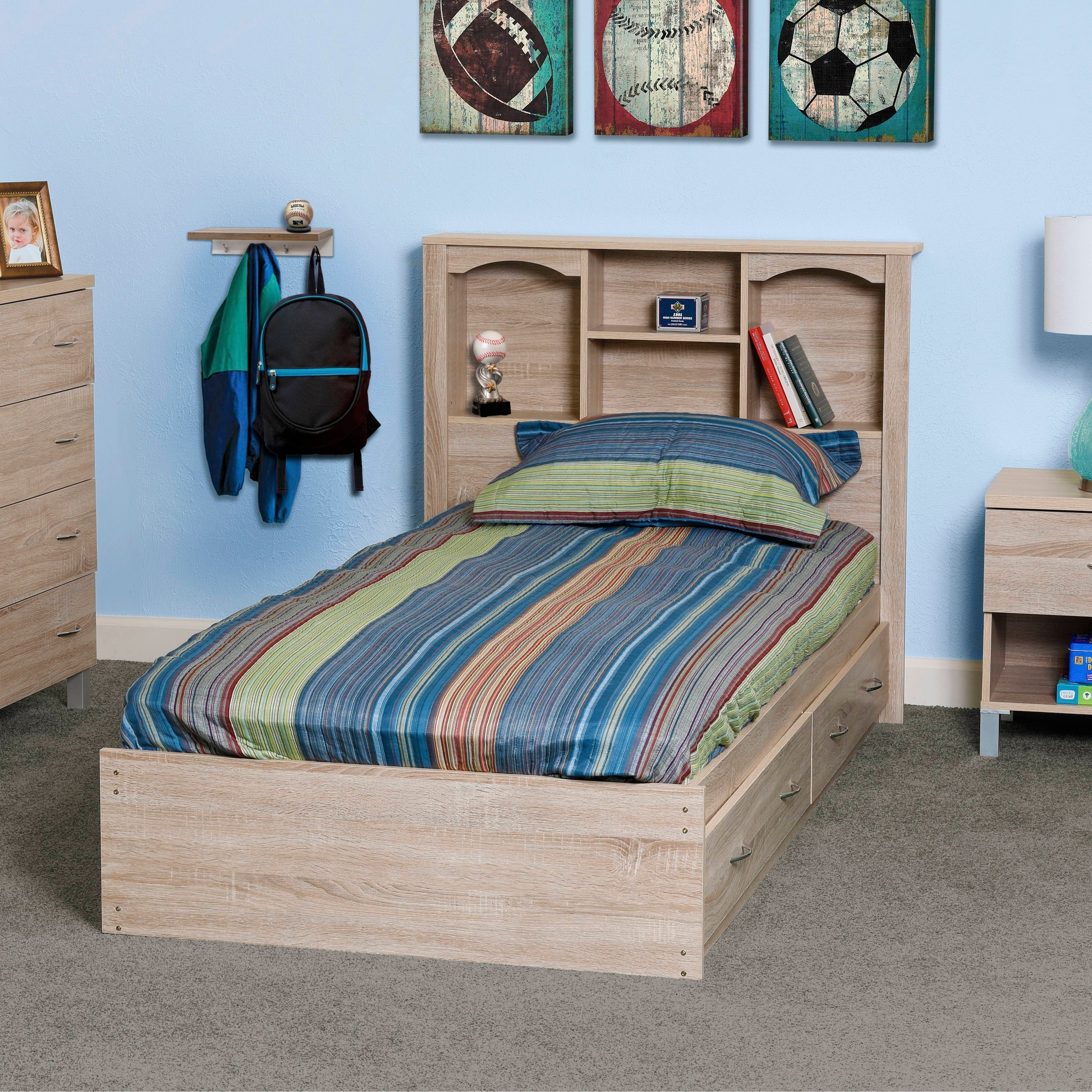 Twin Mates Storage Bed Frame Wood With 2 Two Drawers Bookcase Headboard Bedroom Beds Bed Frames