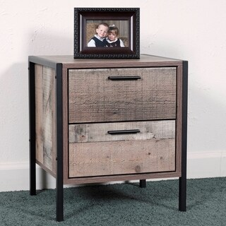 OS Home and Office Furniture Model 41102 Two Drawer Night Stand with Metal Frame and Legs