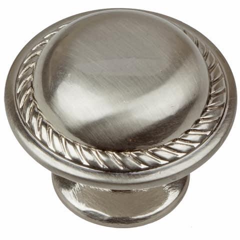 GlideRite 5-Pack 1-1/8 in. Satin Nickel Round Rope Cabinet Knobs - Satin Nickel