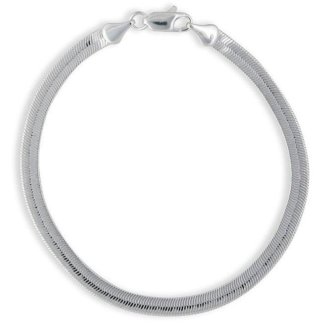 0700e938495 Shop Simon Frank 14k White Gold Overlay 8-inch Herringbone Bracelet 5mm -  On Sale - Free Shipping On Orders Over $45 - Overstock - 3078061