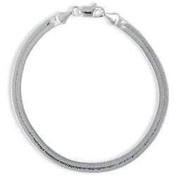 Simon Frank 14k White Gold Overlay 8-inch Herringbone Bracelet 5mm
