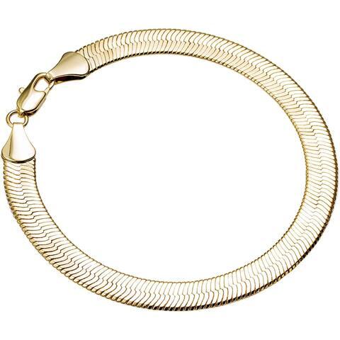 Simon Frank Designs Classic 5mm Gold Overlay 8-inch Herringbone Bracelet