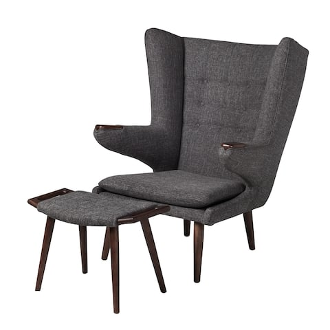 Papa Bear Inspired Chair with Ottoman-Charcoal