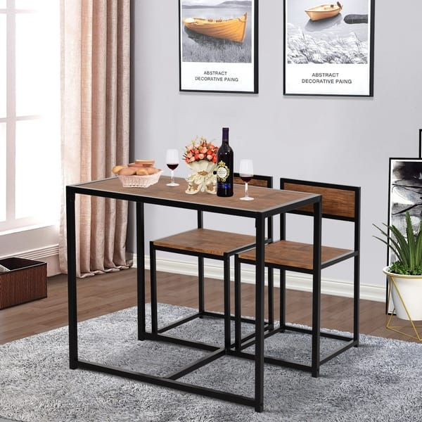 Shop Homcom Industrial 3 Piece Dining Table And 2 Chair Set For Small Space In The Dining Room Or Kitchen 35 5 L X 18 5 W X 30 H On Sale Overstock 30780741