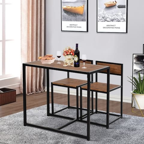 """HOMCOM Industrial 3-Piece Dining Table and 2 Chair Set for Small Space in the Dining Room or Kitchen - 35.5"""" L x 18.5"""" W x 30"""" H"""