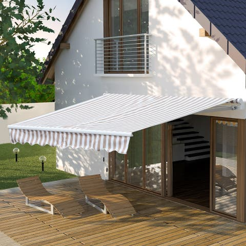 Outsunny 10'x8' Retractable Sun Shade Patio/Window Awning that Opens Smooth & Quietly, Reducing Heat in Your Home, Beige