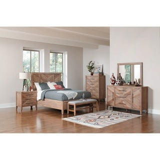 Casserly White Washed Natural 3-piece Bedroom Set with 2 Nightstands