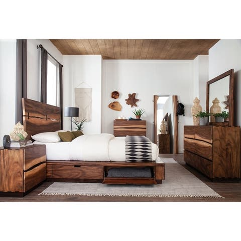 Tolt River Smokey Walnut 4-piece Storage Bedroom Set