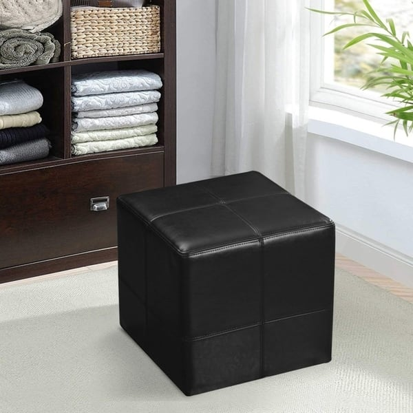 Adeco Faux Leather Sched Ottoman