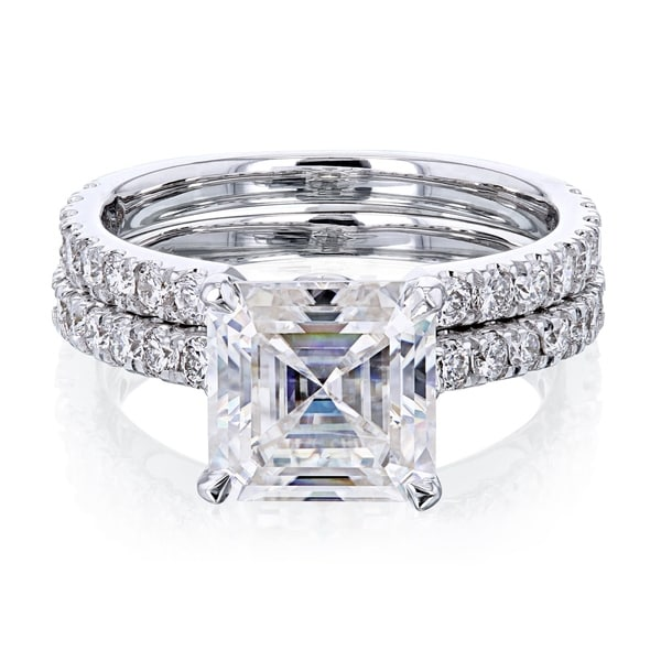 Annello by Kobelli 14k Gold 3ct TGW Asscher Moissanite and Diamond Open Wedding Band Bridal Rings Set. Opens flyout.
