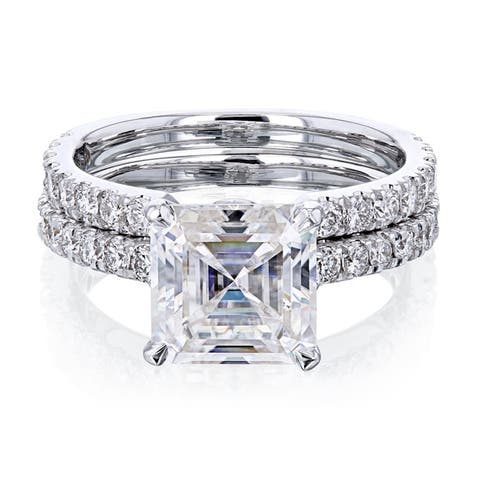 Annello by Kobelli 14k Gold 3ct TGW Asscher Moissanite and Diamond Open Wedding Band Bridal Rings Set