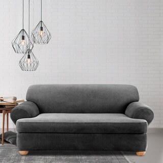 sure fit stretch stripe 2piece tcushion sofa slipcover