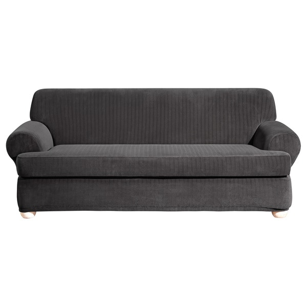 Sure Fit Stretch Stripe 2-piece T-cushion Sofa Slipcover