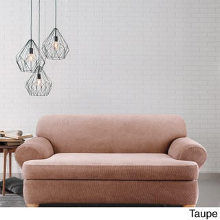 Sure Fit Stretch Stripe 2-piece T-cushion Sofa Slipcover (Option: Taupe)