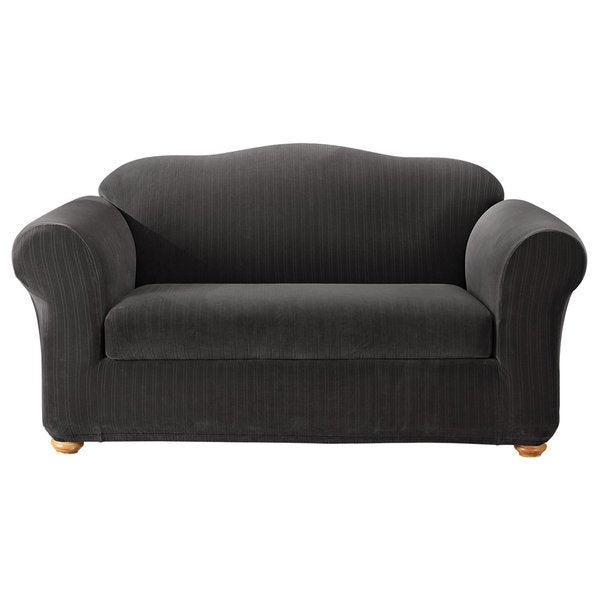 Sure Fit Stretch Stripe 2 Piece Loveseat Slipcover