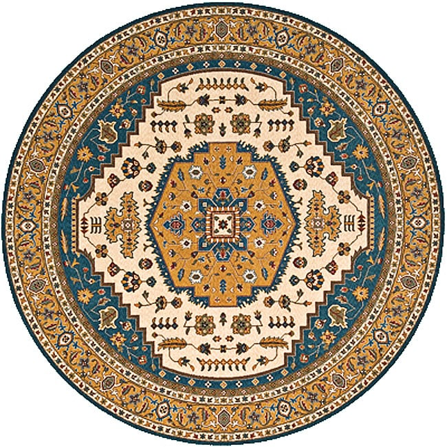 Royal Persian Teal Hand Finished NZ Wool Rug (8' x 8' Round)