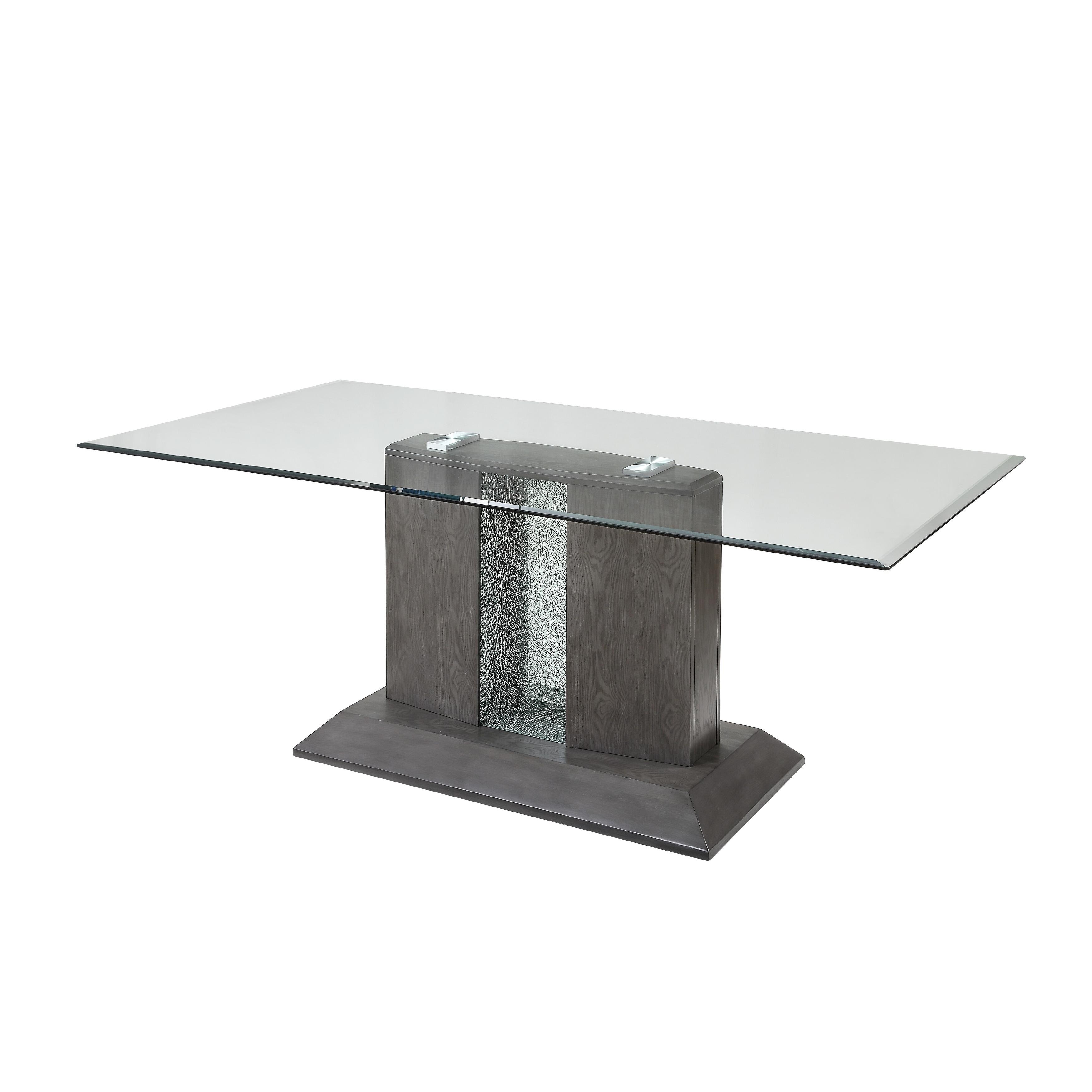 Bernice Dining Table In Gray Oak Glass Top Overstock 30782462