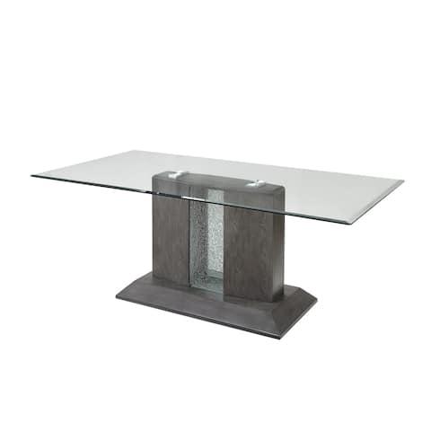 Bernice Dining Table in Gray Oak & Glass Top