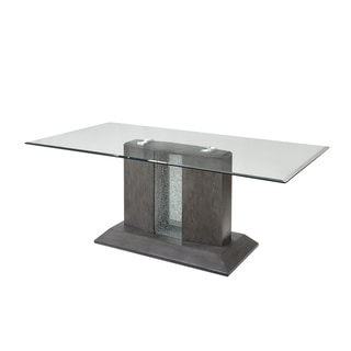 Link to Bernice Dining Table in Gray Oak & Glass Top Similar Items in Dining Room & Bar Furniture
