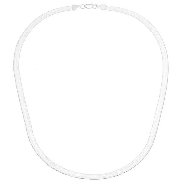 14k White Gold Overlay 18-inch Herringbone Necklace