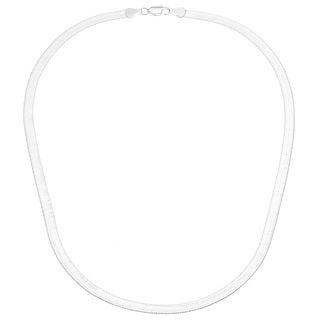 14k White Gold Overlay 18-inch Herringbone Necklace