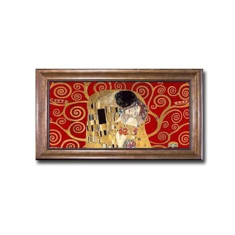 The Kiss (Detail-Red) by Gustav Klimt Bronze-Gold Framed Canvas Art (22 in x 40 in Framed Size)