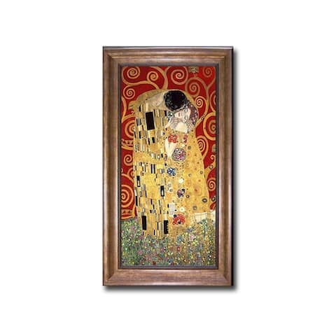 The Kiss (Red) by Gustav Klimt Bronze-Gold Framed Canvas Art (28 in x 16 in Framed Size)