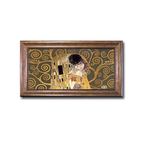 The Kiss (Detail-Grey) by Gustav Klimt Bronze-Gold Framed Canvas Art (12 in x 20 in Framed Size)