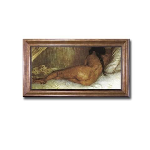 Back Nude Woman Reclining by Vincent Van Gogh Bronze-Gold Framed Canvas Art (22 in x 40 in Framed Size)
