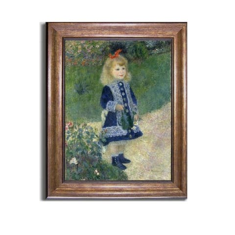A Girl With Watering Can by Pierre August Renoir Bronze-Gold Framed Canvas Art (28 in x 22 in Framed Size)