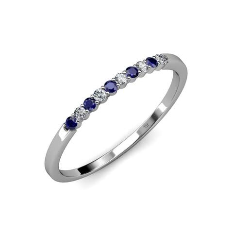 Trijewels Blue Sapphire Diamond 1/3 ctw Womens Wedding Band 14KW Gold