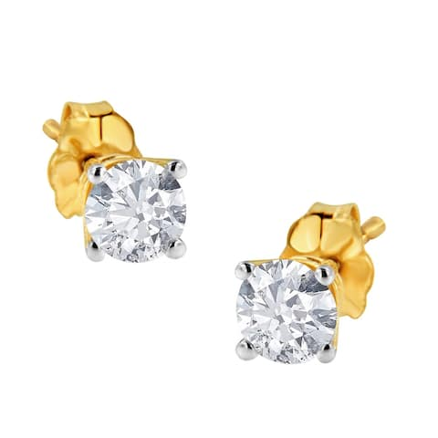 Certified Diamond Stud Earrings 14K Yellow Gold 1/2ct. TDW (L-M)