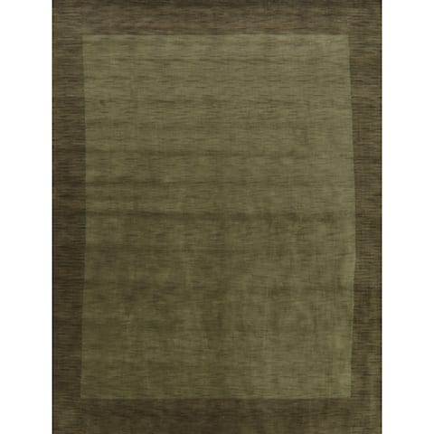 "Contemporary Gabbeh Solid Oriental Green Area Rug Handmade Carpet - 9'5"" x 12'4"""