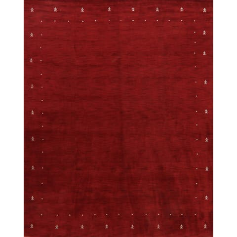 "Stunning Contemporary Gabbeh Oriental Red Area Rug Hand-Knotted - 9'2"" x 11'6"""